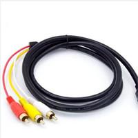 av hdmi führen großhandel-1.5M 5Ft Rot Schwarz Männlich zu Männlich HDMI Zu 3 RCA AV Video Extension Konvertieren Adapter Audio Adapter Kabel Für HDTV AV Kabel Top Qualität