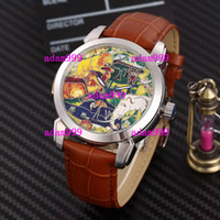 Wholesale Genuine Blue Sapphire - Christmas Gift Modern Automatic Luxury Branded Mens Mechanical Wristwatch Stainless Genuine Leather For Men Antique Watches Water Resistant