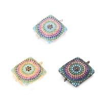 Wholesale Fashion Bracelet Connectors - Factory Outlet ECO-Friendly Square Shape Zircon Micro Pave Fashion CZ Charm Bracelet, Connector, ICSP060, 24.2*1.9mm, 3 Colors