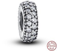 Wholesale Diamond Bead Spacer - New Silver Spacer Double AAA CZ Diamond Real 925 Sterling Silver Beads Charms Fit For Bracelets Women DIY Jewelry YZ