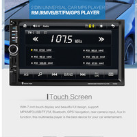 Wholesale Car Gps Inch Screen - 7020G 7 Inch 2 Din Bluetooth Auto Multimedia Car Stereo MP5 Player GPS Navigation Support Mirror Link with Rear View Camera CMO_21X