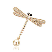 Wholesale Dragonfly Pin Girl - Top Quality Shiny Crystal Rhinestone Pearl Dragonfly Brooch Pins for Women Girl Wedding Bride Bouquet Brooches Jewelry Wholesale Xmas Gifts