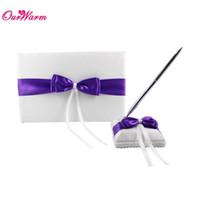 Wholesale Ceremony Set Pen - 2Pcs set Purple Wedding Guest Book and Pen Set Satin Fabric Wedding Ceremony Accessories Wedding Decoration Supplies <$16 no tracking