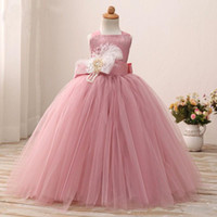 Wholesale Little Pink Tutu Dress - Blusher Pink 2017 Birthday Dress For Little Girls Halter Tutu Gown Flower Girl Dresses With Sash Toddler Pageant Gowns Custom Quality