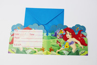 Wholesale Birthday Boy Party Themes - Wholesale-12 People Use Kid Boy Girl Mermaid Theme Happy Birthday Party Decoration Kids Supplies Favors Invitation Cards