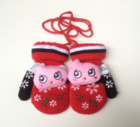 Wholesale Boys Fleece Mittens - Wholesale- 3-8 Years Thicken Warm Fleece Children Cartoon Winter Warm Gloves Kids Mittens Boys Girls Knitted Gloves Full Finger Gloves