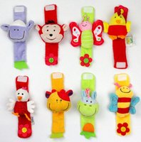 Soft Animal Baby Rattles Crianças Infant Newborn Plush Sock Baby Toy Hand Wrist Strap Christmas Gift
