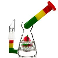 Wholesale colorful snowman - 2 Honeycomb Disc Perc Heady Glass Rig Snowman Bong Mini Sidecar Design Water Pipe Nano Oil Dab Rigs Colorful Dab Bongs WP517