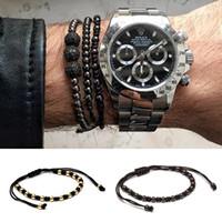 neues macrame großhandel-Beichong Anil Arjandas Pflastern Roségold 5mm Runde Perlen Geflochtene Macrame Armband Luxus Armbänder Mens Womens Neue Stil Zubehör