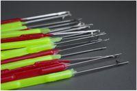extensiones de cabello tirando de bucle al por mayor-2000pcs / Lot Plastic Handle Pulling Needle, Micro Anillos / Loop Needle Hair Extensions Herramientas DHL FEDEX SF Envío Gratis