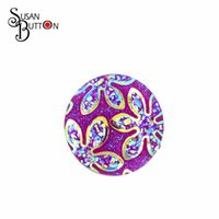 Wholesale Purple Cameo - 12pcs Snap Button Jewelry Purple Flower Cameo Multicolor Snap Ginger Charms For Snap Button Jewellery 18mm SJSB053