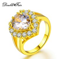 Wholesale Green Diamond Rings Yellow Gold - Big Green Imitation Gemstone 18K Yellow Gold Plated Rings Water Drop Fashion Jewelry CZ Diamond For Women Wholesale DFR494   DFR626