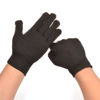 12pcs Black Cotton String Knit Gants de travail Proof Protect Wire Gants de sécurité Cut Butcher Anti-coupe respirant