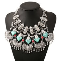 Wholesale Hot Jewelry Trends - Resin tassel exaggerated chokers necklace kallaite pendant women jewelry hot sale Euramerican fashion trend of retro sweater necklace