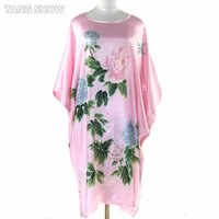 Wholesale Hot N Sexy Dresses - Wholesale- Summer Hot Sale Female Rayon Bathrobe Gown Lounge Soft Sleepwear Casual Robe Dress Vintage Print Nightgowns One Size S014-N