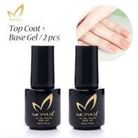 Wholesale Step Covers - Wholesale-MONASI Free Shipping 2 PCS   Lot No Wipe Base Gel Top Coat Three Steps Bright Shiny Cover Nail Gel Polish Base Coat Primer Gel