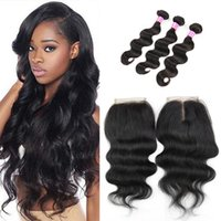 Wholesale dhgate brazilian human hair weave for sale - Group buy 3 Bundles Body Wave with Closure Unprocessed Natural Color Virgin Human Hair Weaves Dhgate On Sale High Quality Can Be Permed Hair Closures