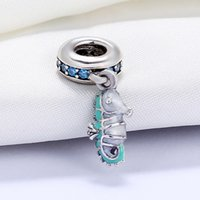 Wholesale Sterling Silver 925 Sea - Real 925 Sterling Silver Not Plated Enamel Sea Horse CZ Pendant Charm European Charms Beads Fit Pandora Snake Chain Bracelet DIY Jewelry