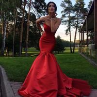 vestidos de noite vermelhos ajustados venda por atacado-2016 Red Sereia Vestidos de Noite Sexy Equipado Longo Vestido de Noite de Cetim Formal Vestidos de Festa Vestidos No Tapete Vermelho