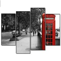 Wholesale Picture Frame Building - 4 Panel Digital Printing Canvas Art Modern Building Street Painting Poster Wall Picture Decor Ready to Hang