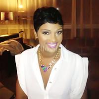 ingrosso stile rihanna nuovo-Nuova parrucca di capelli umani Parrucca corta a taglio corto da donna Parrucche nere a taglio corto per le donne nere