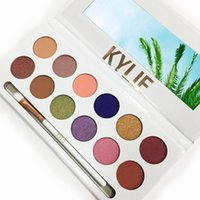 Wholesale Eye Shadow 12 - 2017 New Kylie Jenner Makeup Kylie Cosmetics Royal Peach Eyeshadow Palette Kyshadow 12 Colors Eye Shadow Kit With Brush DHL Free Shipping