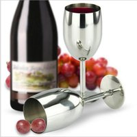 Wholesale Advanced Fashion - 304 Stainless Steel Standing Cup 250ML Red Wine Juice Beer Advanced Metal Glass Goblet Anti-broken Bar Party Fashion Drinking Ware