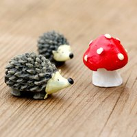 Wholesale Dot Inlay - 3Pcs set Artificial mini hedgehog with red dot mushroom miniatures fairy garden moss terrarium resin crafts decorations for home