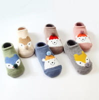 Wholesale 4t Boys Socks - Christmas cartoon baby kids Slip proof baby Terry TODDLER SOCKS new arrivals Girls BOY 100% cotton cute animals styles sock size 0-4T