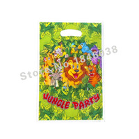 Wholesale Loot Kids Gift Bags - Wholesale- 12pcs Loot Bag for Kids Birthday festival Party Decoration Jungle Party Theme Party Supplies Candy Bag Shopping Gift Bag