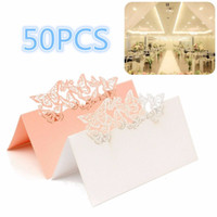 Wholesale Wedding Place Name Card - Wholesale-50Pcs lot Paper Vine Seat CardsLaser Cut Name Place Card Wedding Celebration Birthday Party Table Card Seats Decoration