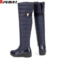 Wholesale Shoes Platform Long - Wholesale-ASUMER 2016 new fashion keep warm snow boots fashion platform over the knee high boots women fur winter boots long shoes woman