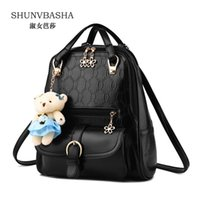 Wholesale Leather Fashionable Backpacks - Wholesale- New 2016 spring and summer women backpacks PU Leather fashionable mixed colors female backpack fresh cute students shoulder bags