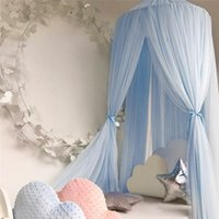 Wholesale Netting For Canopy - Baby Crib Netting Princess Dome Bed Canopy Childrens Bedding Round Lace Mosquito Net For Baby Sleeping 7 Colors WZ77