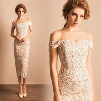 Wholesale Tea Length Lace Reception Dress - 2017 Sexy Off the Shoulder Full Lace Wedding Dresses Sheath Tea Length Short Party Dresses Custom Informal Bridal Reception Gowns ba4655