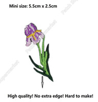 Wholesale Garden Irises - Mini Purple Iris flowers Plant Garden Iron On Patches For Clothing Embroidered Badge Applique For kids dress t-shirt headband