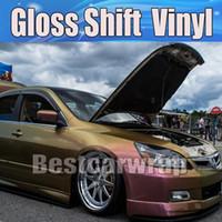 ventas de envoltura de vinilo al por mayor-Top venta! Gloss Shift Rainbow Drift Vinilo del abrigo del coche Con burbuja de aire Unión del vehículo libre Revestimiento de la lámina del flip-flop Tamaño: 1.52 * 20M / Roll 5x67ft