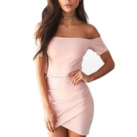 Wholesale Tight Short Skirt Sexy Women - 2017 summer Sexy pack hip tight women dresses 2 colours off shoulder party office dress Pencil skirt plus size LM-053