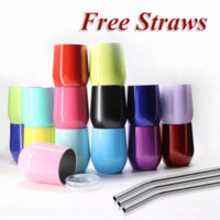 Wholesale Beer Stainless - 20 Colors 9Oz Cup Powder Coated Wine Glass Stainless Steel Tumbler Vacuum Insulated Water Bottle Beer Mugs Egg Cups