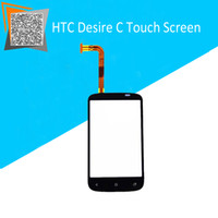 Wholesale Desire C Digitizer - Wholesale-Best Price For HTC Desire C Touch Screen Digitizer Sensors Front Lens Black Color Replacement Free Tracking