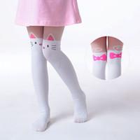 Wholesale Yellow Baby Pantyhose - Wholesale- Summer Children's Baby Kids Girls Thin Tights Pantyhose Knee Fake Tattoo Velvet Stocking white Cartoon Kitty Cat 3-8Y new 2017