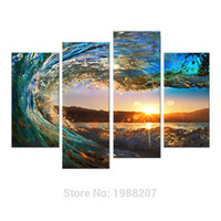 Wholesale Abstract Waves - 4 Pieces Rolling Wave Painting Seascape Canvas Painting Wall Art Picture Print Giclee Artwork with Wooden Framed For Home Decor