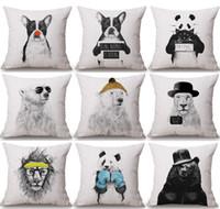Wholesale leopard print pillow cases resale online - Hipster Animals Cushion Covers Hand Painting Bear Dog Lion Panda Leopard Cushion Cover Sofa Throws Decorative Linen Cotton Pillow Case