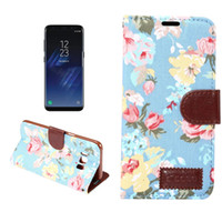 Wholesale Plastic Cloth Covers - For Samsung S8 Plus Flower Print Jean Cloth Wallet Cover Flip Leather Case Cover with Card Holder For Iphone 7 6 6s Plus LG G5 With OPPBAG