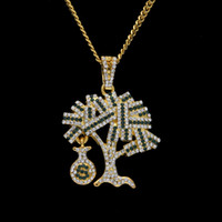 Wholesale Tree Pendant For Men - New Arrivel Hip hop Gold Silver USA Money Tree Pendant Bling Rhinestone Crystal Necklace Chain for Men