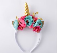 Wholesale Hair Comb Ornament - New unicorn hair band children birthday gift rabbit ears hand flower head ornaments baby boutique hair ornaments