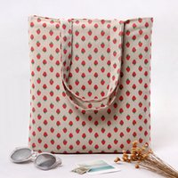 Wholesale Eco Bags Linen - Wholesale- YILE 2 layer Cotton Linen Eco Reusable Shopping Tote Carrying Bag Strawberry L259 NEW