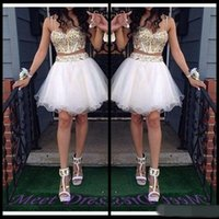 Wholesale Club Lights For Sale - 2 Piece Ball Gown Homecoming Dresses With Gold Beaded Straps Tulle White Short Prom Dress Sweet 16 Gown cheap for sale
