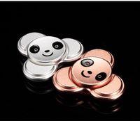 Wholesale Fingertip Lights - 4 Colors Panda Tri spinner Metal Hand Spinner Fingertips Spiral Fingers Gyro Torqbar Fidget Spinner Decompression Toy