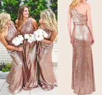 Wholesale Roses Ruffle Dress - Rose Gold Sequins Bridesmaid Dresses One Shoulder Ruffles Floor Length Champagne Boho Bridesmaid Gowns Sparkly Long Prom Dresses